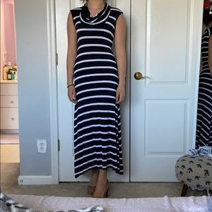 Michael Kors Navy blue and white  maxi dress.